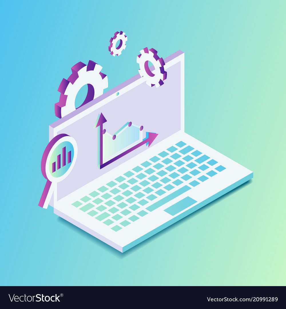 Isometric laptop with graphics and settings