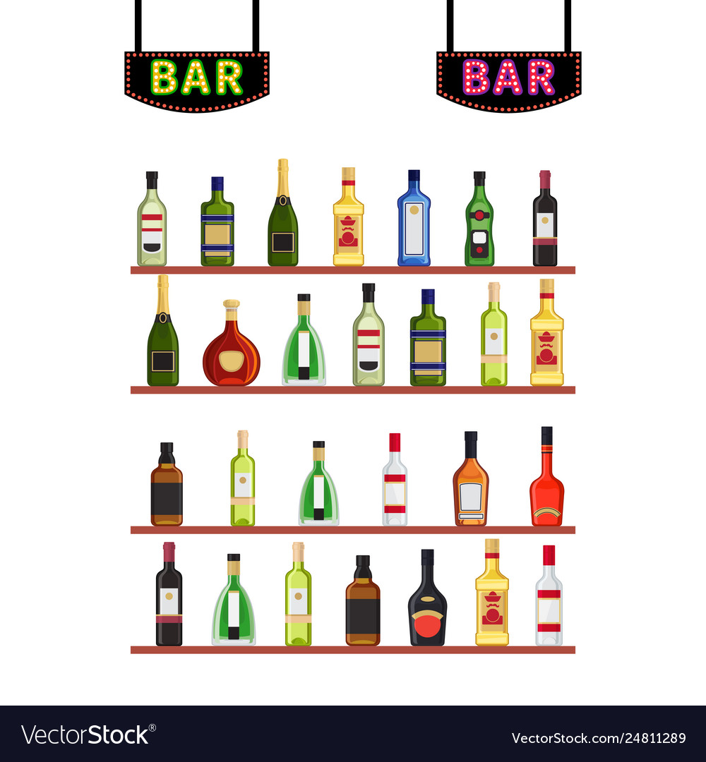 Neon signs bar and shelfs with alcohol bottles