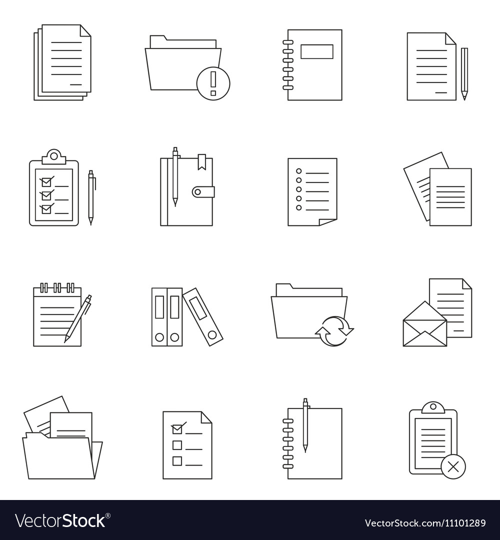Outline document notes icon set