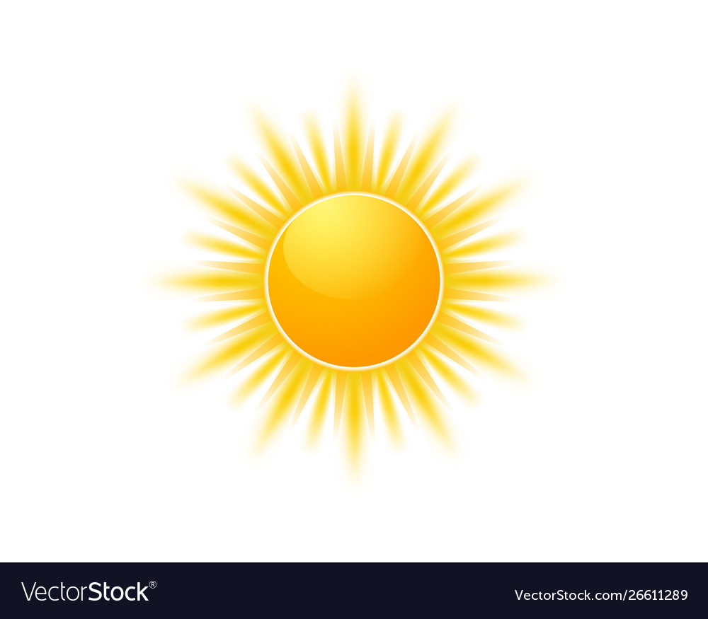 Realistic sun icon for weather design sunshine