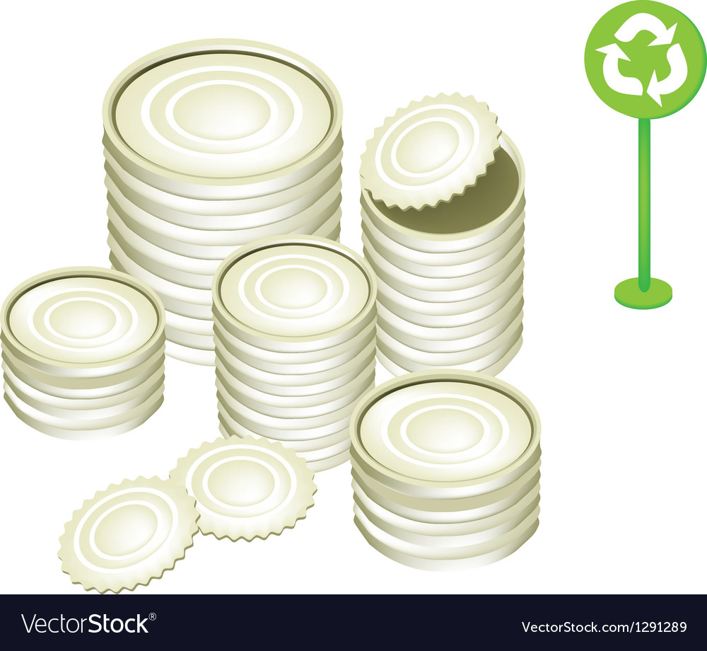 Tin Cans and Recycling Symbol vector image