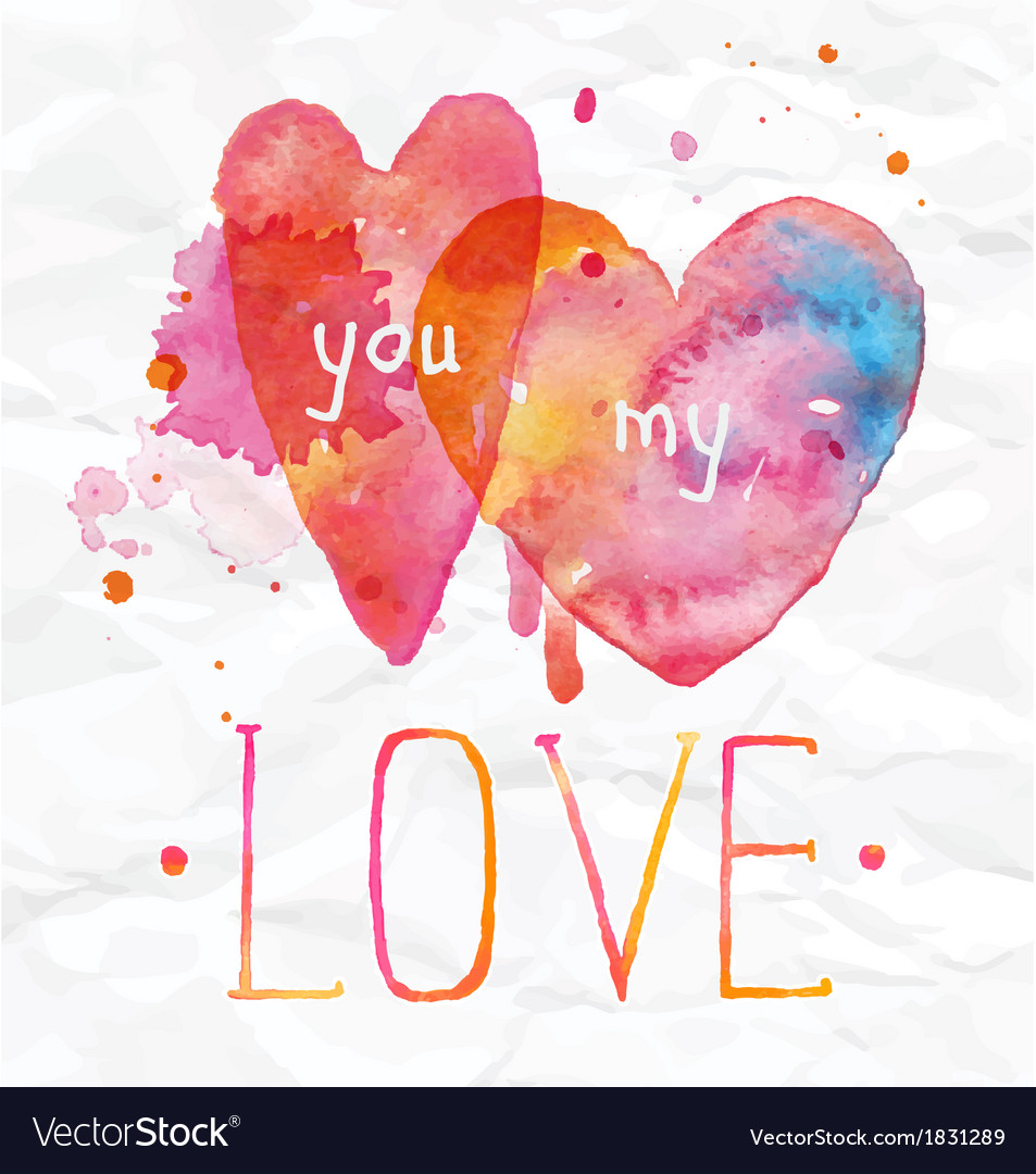 Watercolor Valentines Day Hearts lettering love