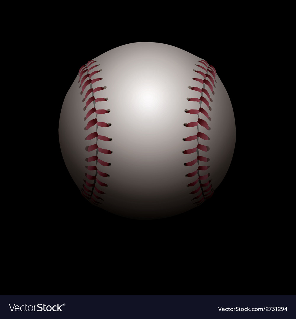 Baseball On Black Background Royalty Free Vector Image