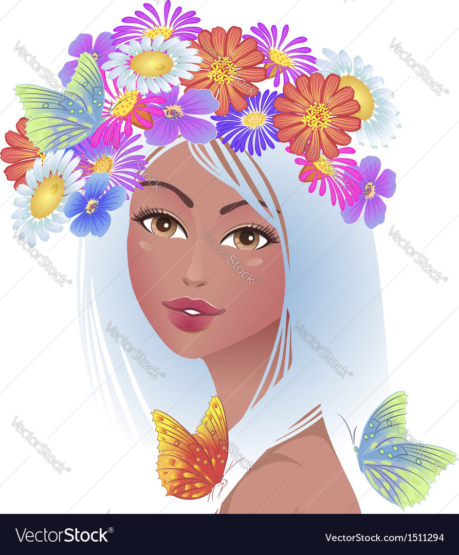 Beautiful Girl With Flowers On Her Head Royalty Free Vector