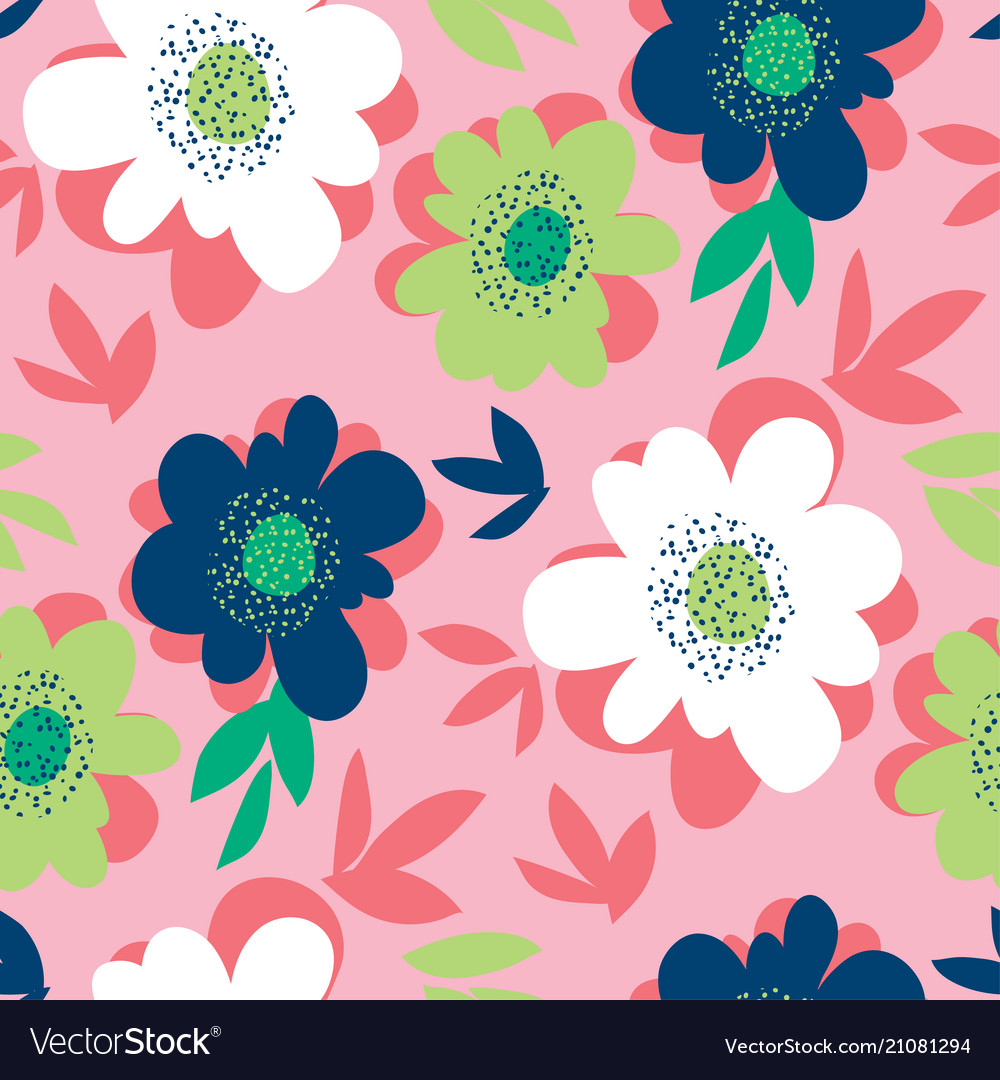 Bright abstract flower seamless pattern