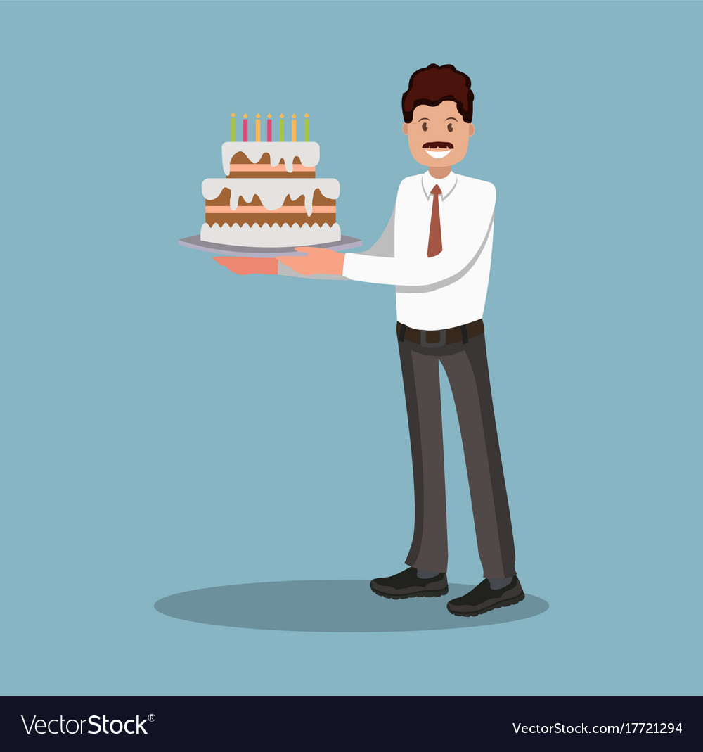 Businessman with a cake at work flat design