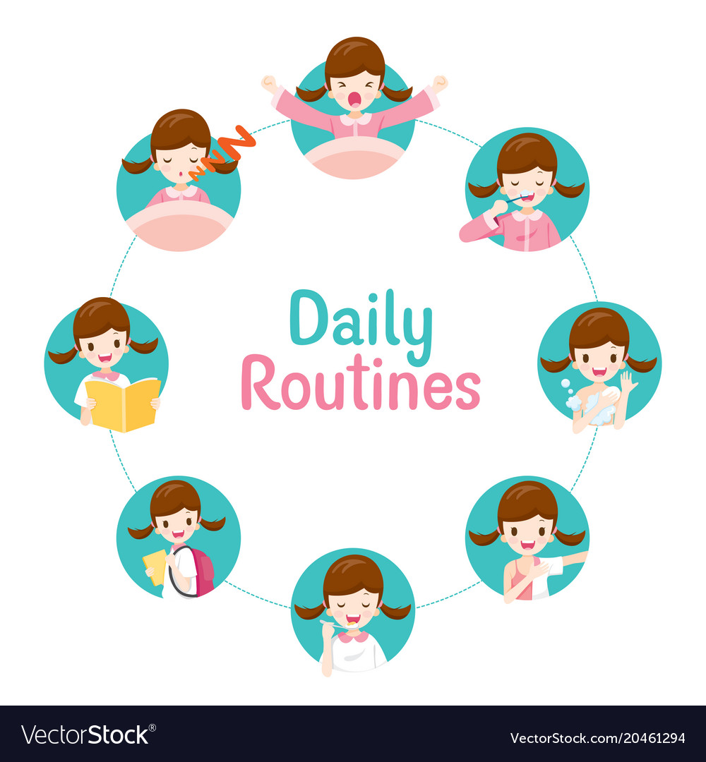 Daily routines of girl on circle chart vector image