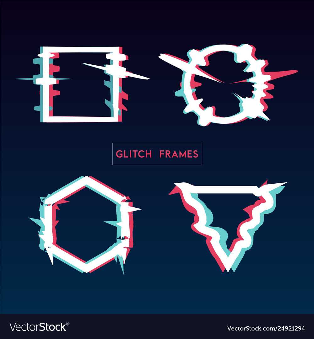 Distorted glitch style modern frame set design