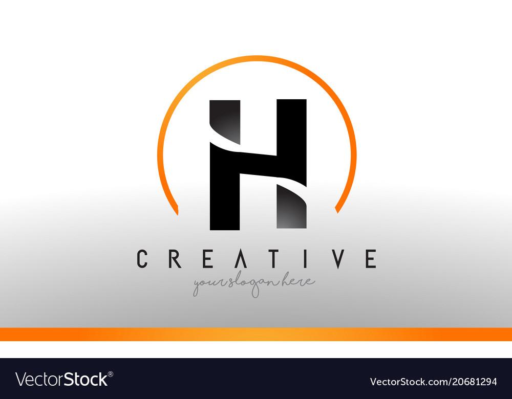 Cool Letter I Logo.H Letter Logo Design With Black Orange Color Cool