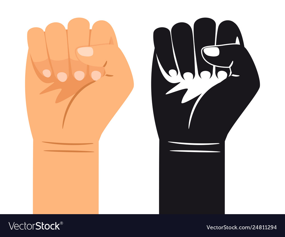 Ordinary and black and white hand is clenched into