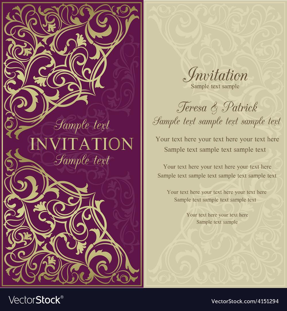 Orient invitation purple and beige royalty free vector image orient invitation purple and beige vector image stopboris Choice Image
