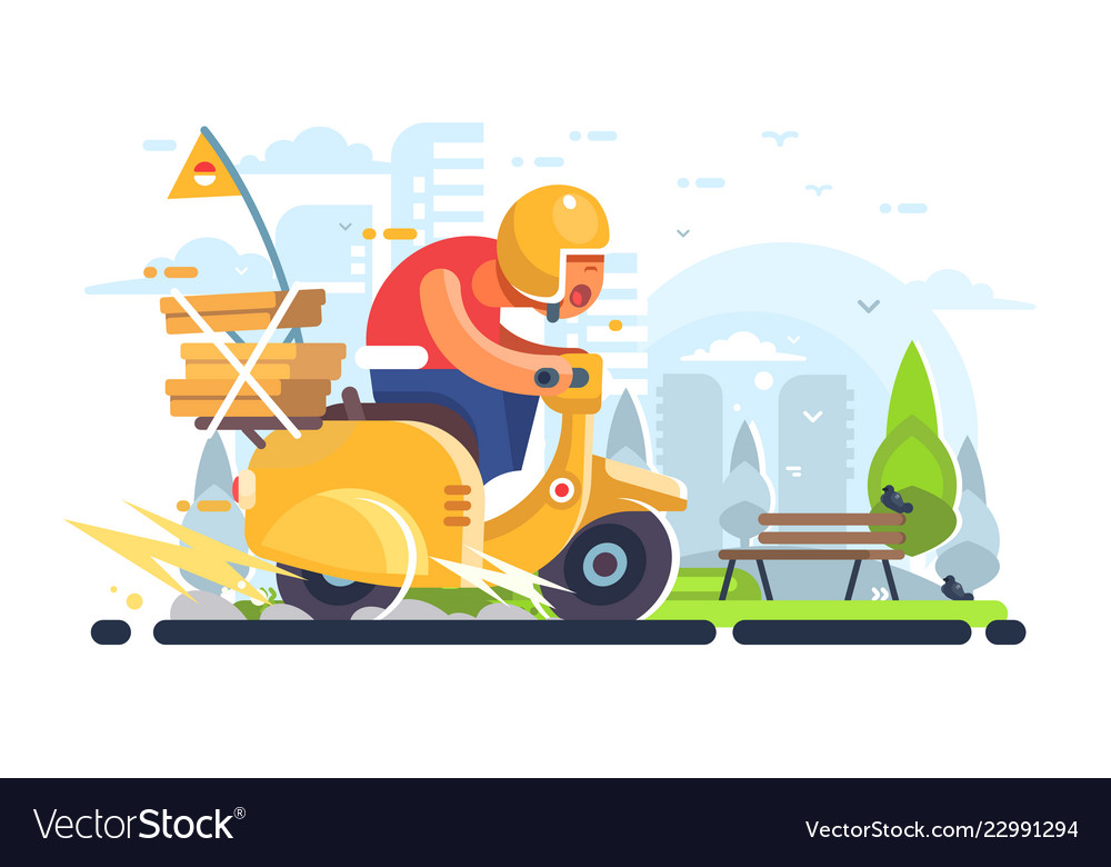 Pizza delivery man on scooter flat poster