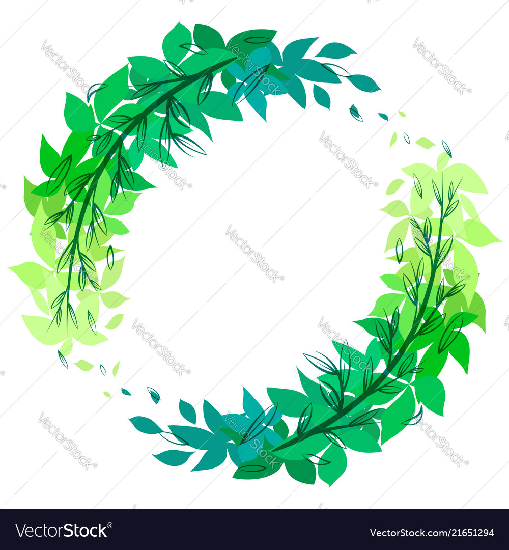 Round green wreath of leaves with doodle branches