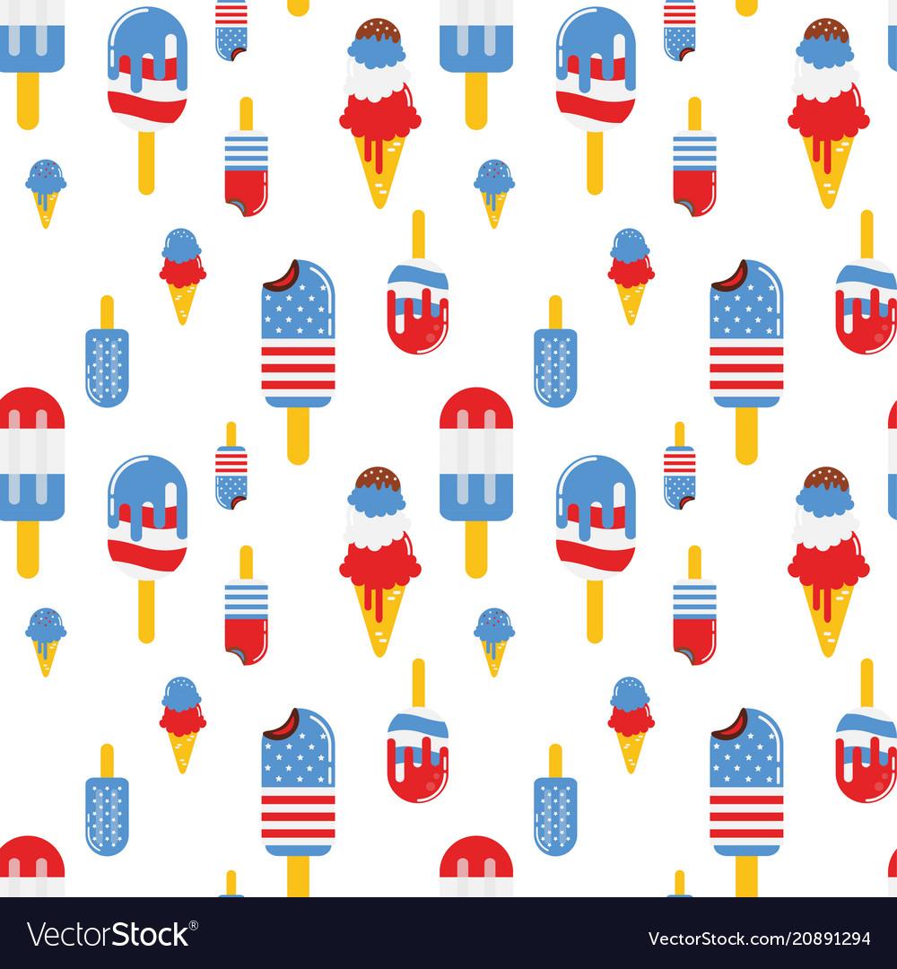 Seamless pattern with patriotic ice cream