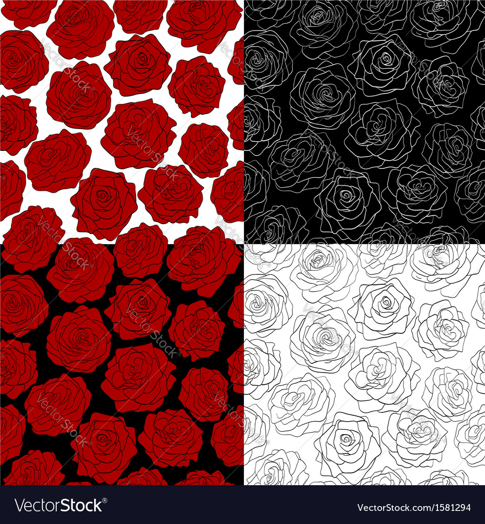 Set of seamless backgrounds The outline of a rose