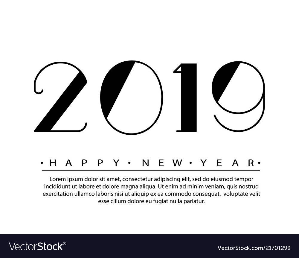 2019 happy new year text design
