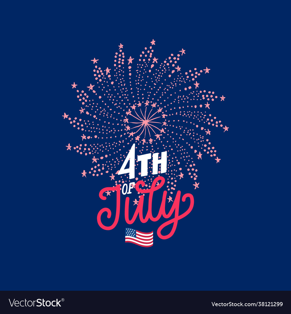 4th july hand lettering with firework in