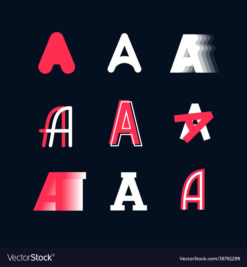 A set emblems capital letters latin