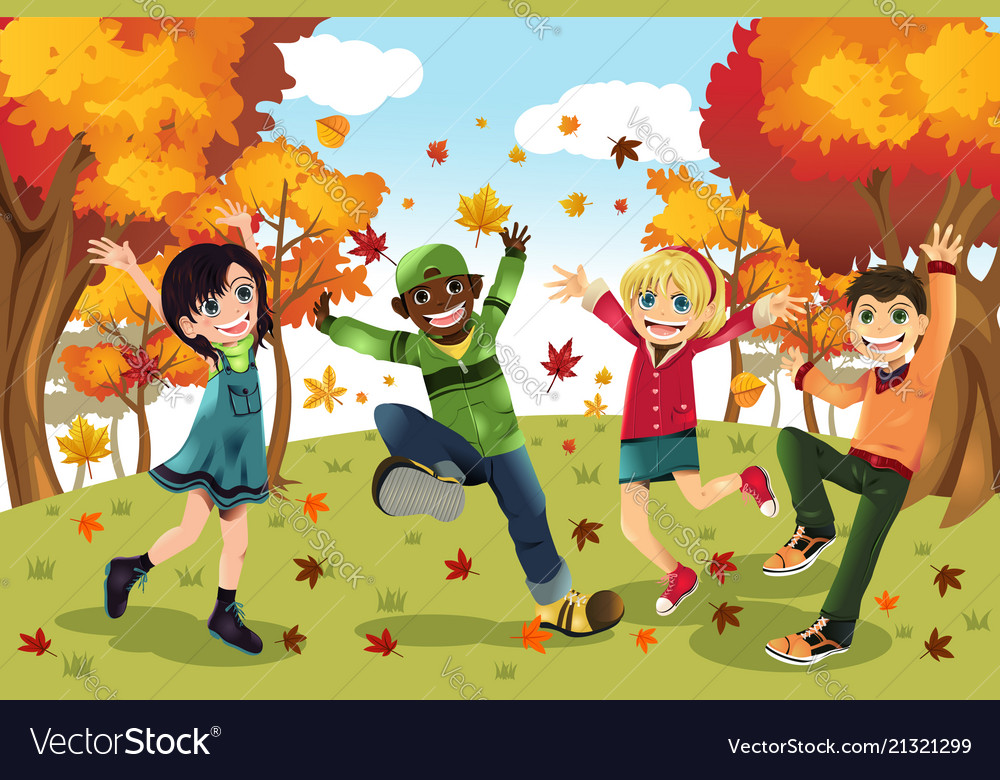 autumn fall season kids royalty free vector image