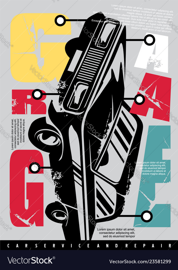 Garage conceptual typography design with car graph