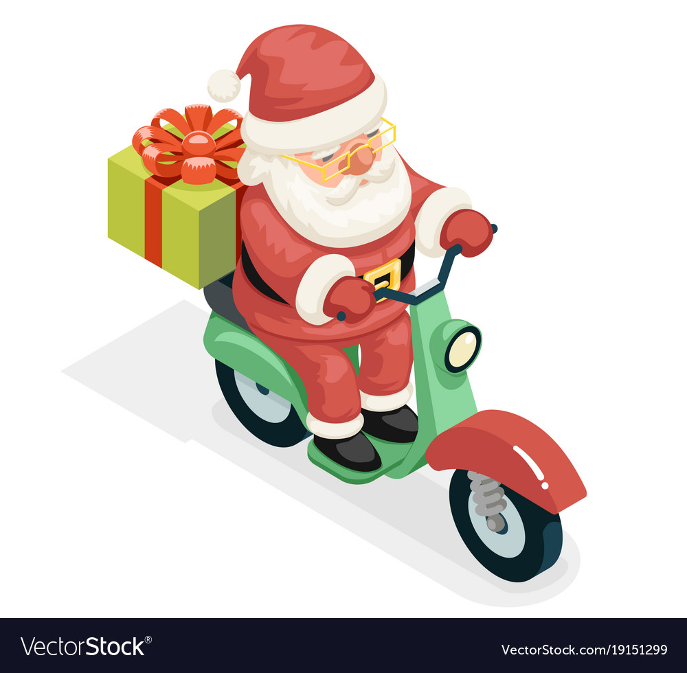 Isometric 3d gift box santa claus delivery courier