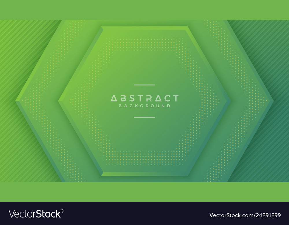 Modern green hexagon background with 3d style
