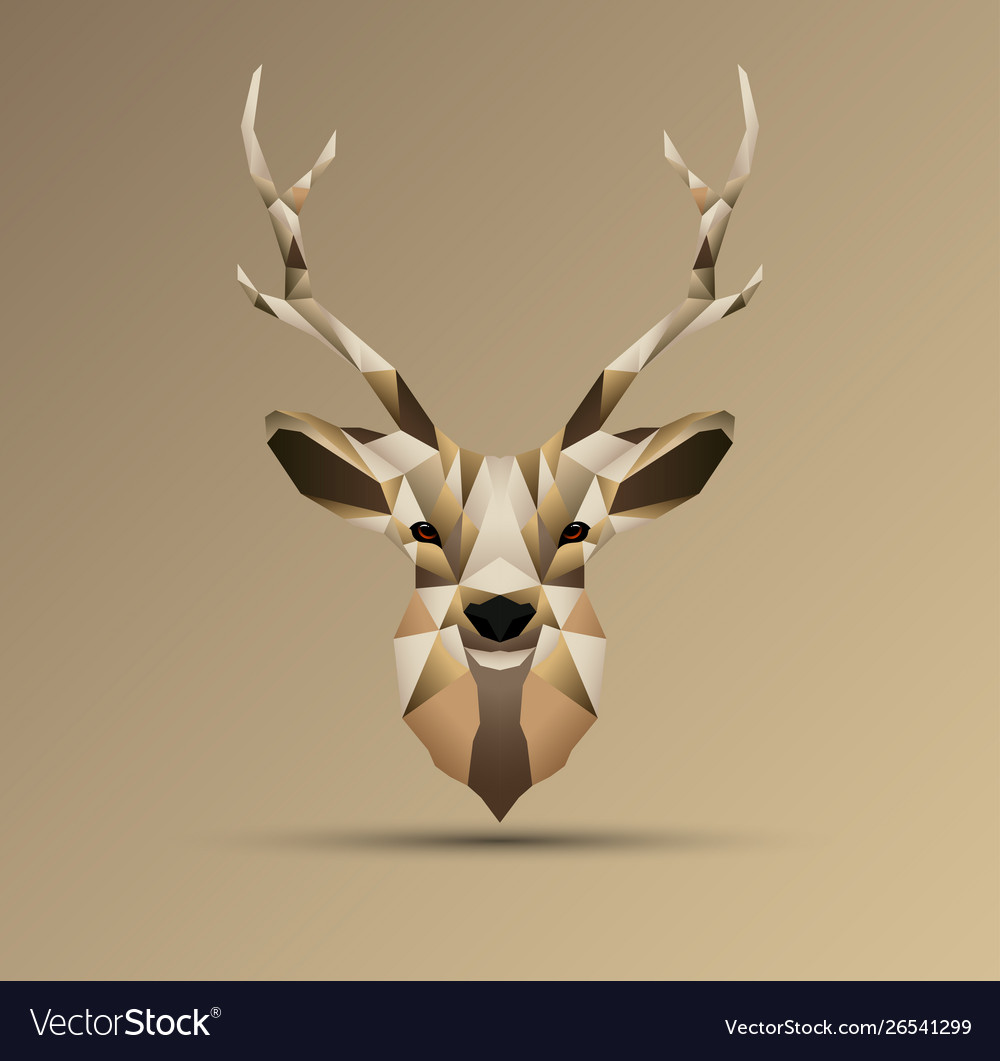 Polygonal low poly deer design