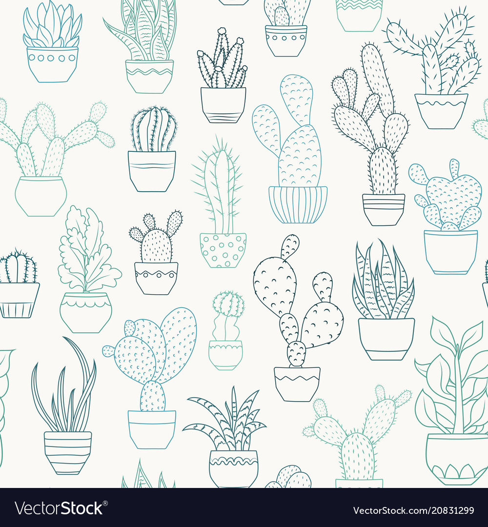Potted cactus succulent plants seamless pattern
