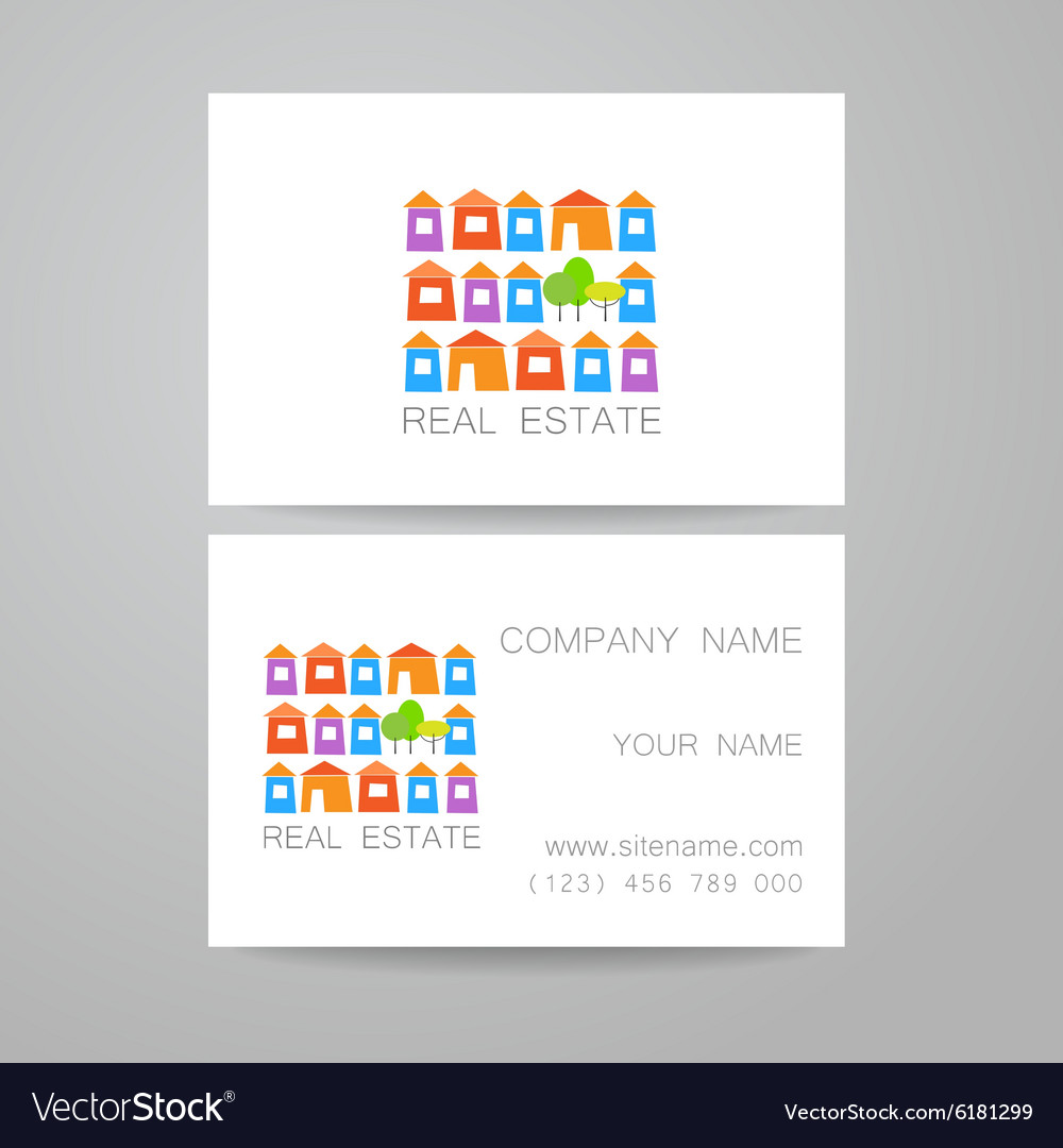 real estate business card vector image - Real Estate Business Card