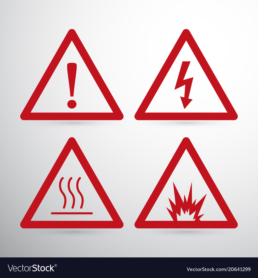 red caution danger sign hazard warning signs vector image