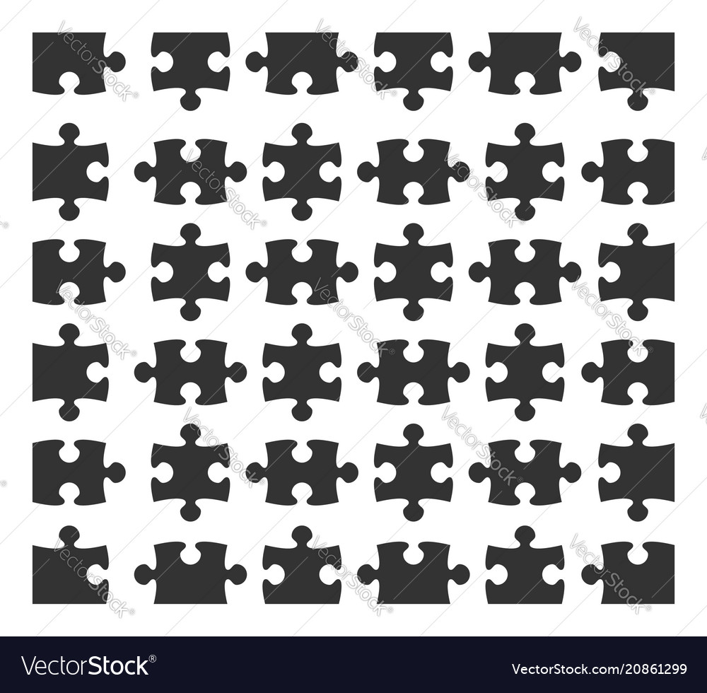 Set jigsaw puzzle part design elements silhouette