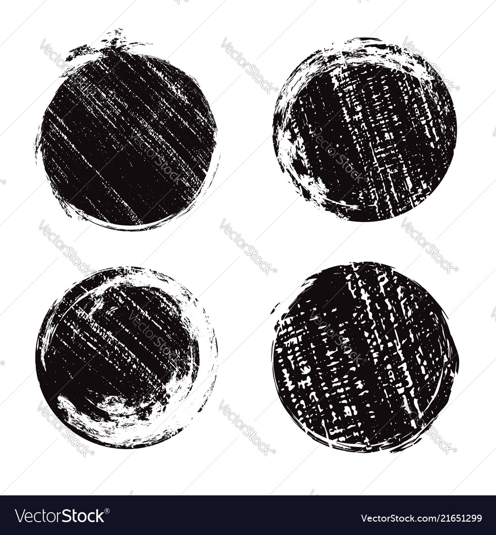 Set of round grunge banners with scratches ink
