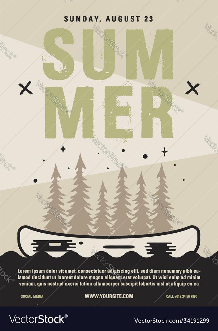 Summer camp flyer a4 format canoe adventure
