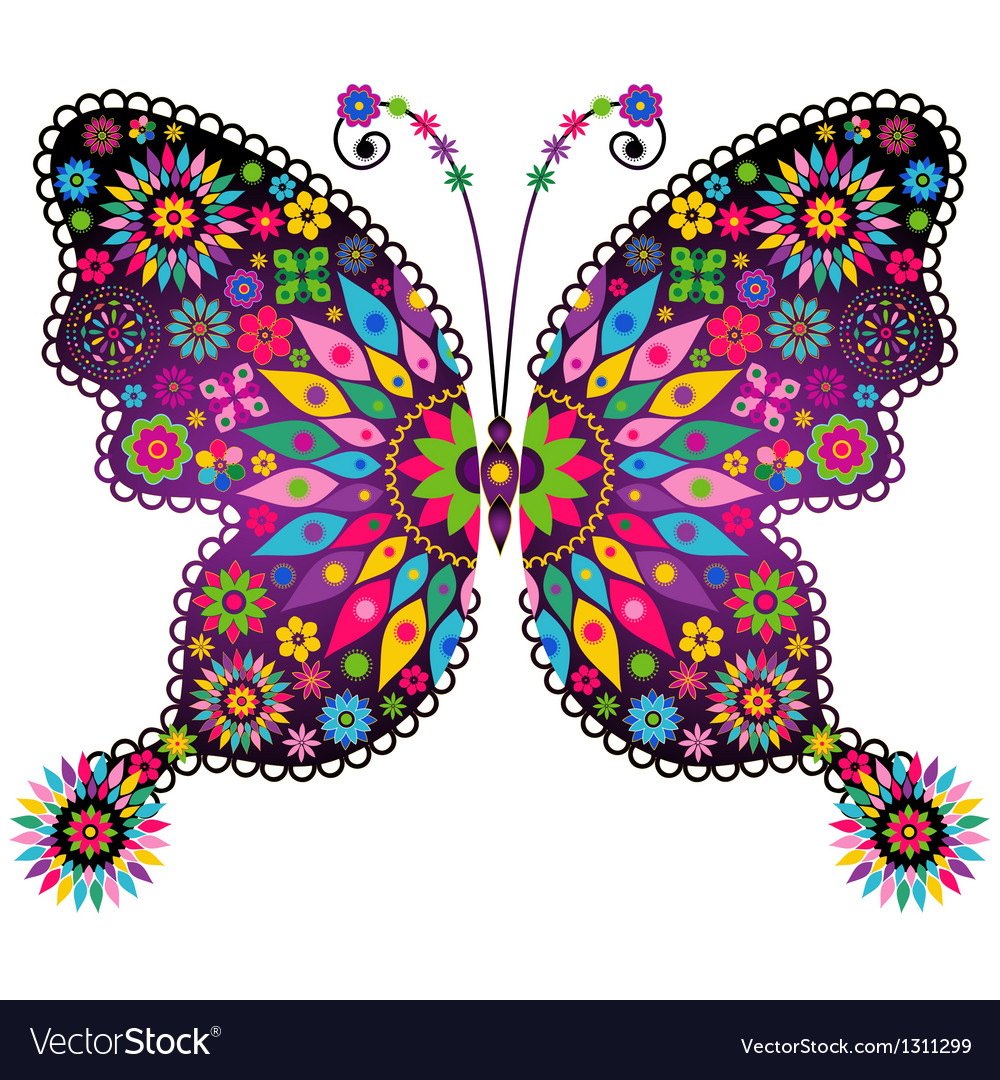 Vivid Colorful Butterfly Royalty Free Vector Image