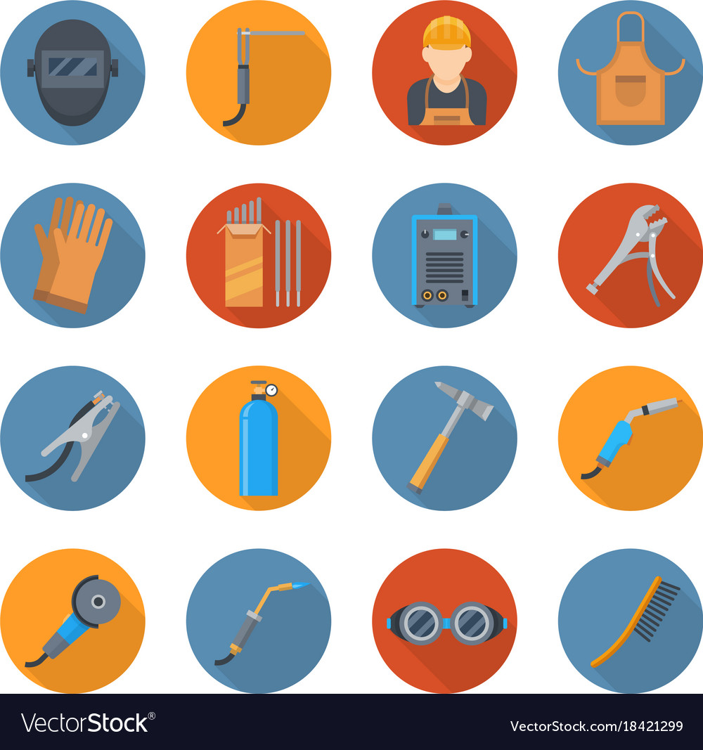 Welding industry cartoon icon set vector image