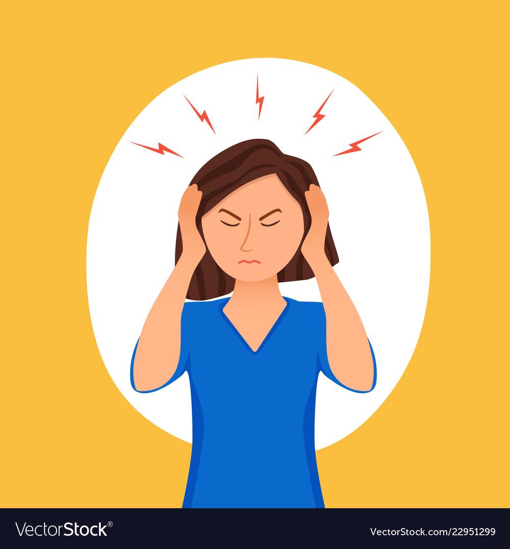 Young Woman Having Headache Cartoon Royalty Free Vector