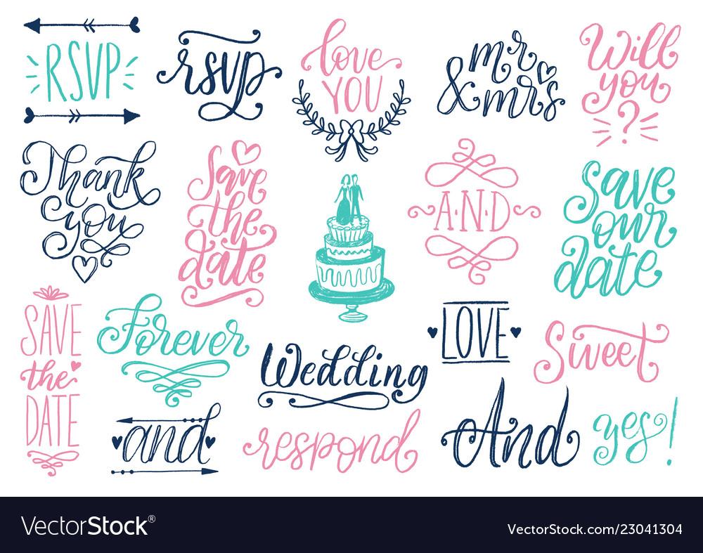 Drawn wedding set of laurels rings flowers