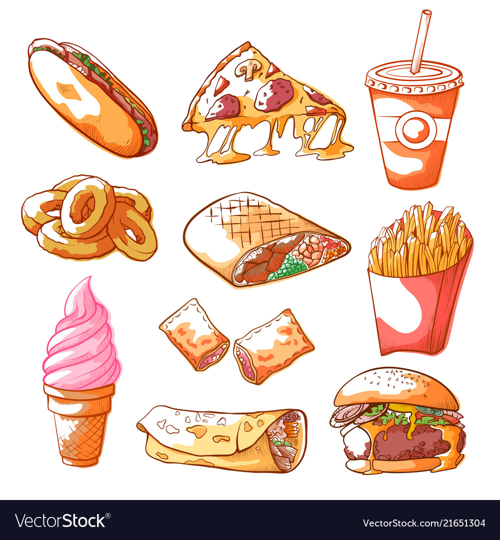 Fast food hand drawn set isolated from background