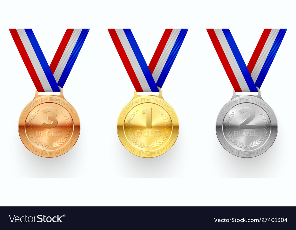 Gold silver and bronze medals realistic