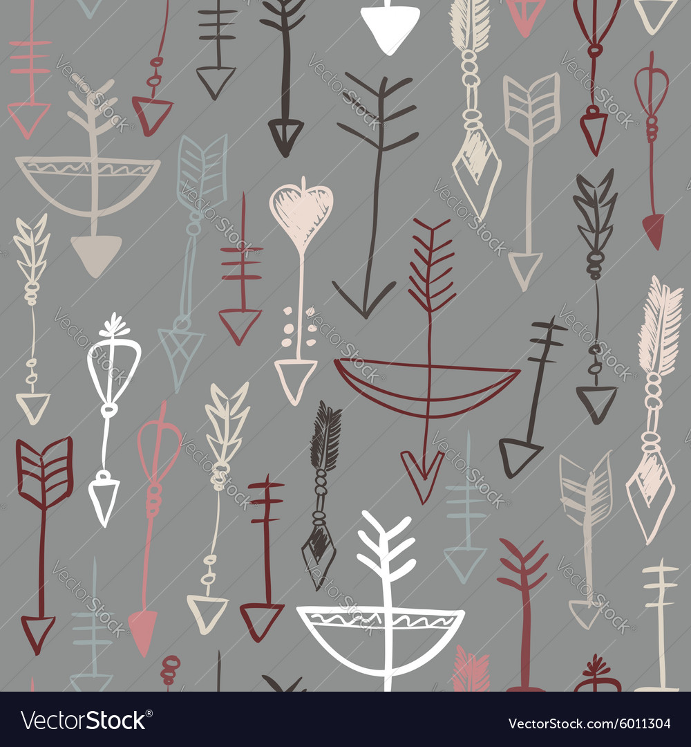 Hand drawn arrows and bows seamless pattern