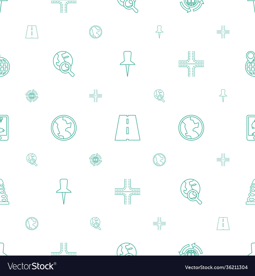 Map icons pattern seamless white background