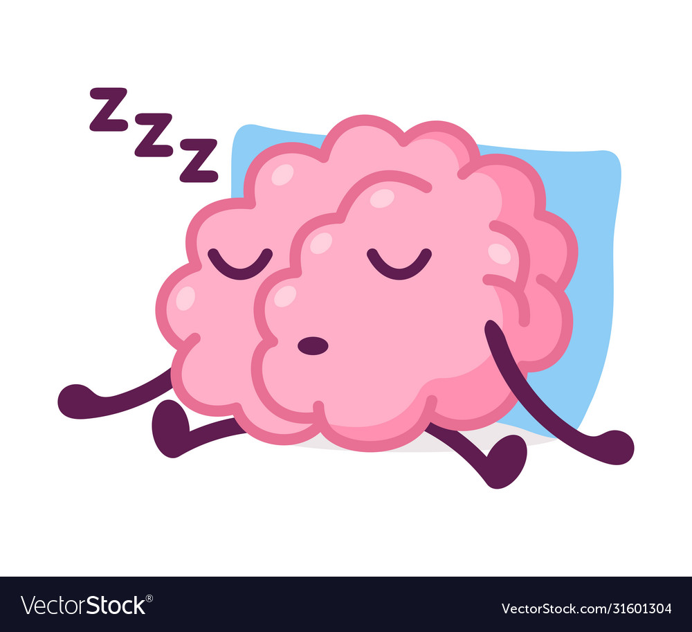 Pink Brain Sleeping On Pillow And Snoring Funny Vector Image