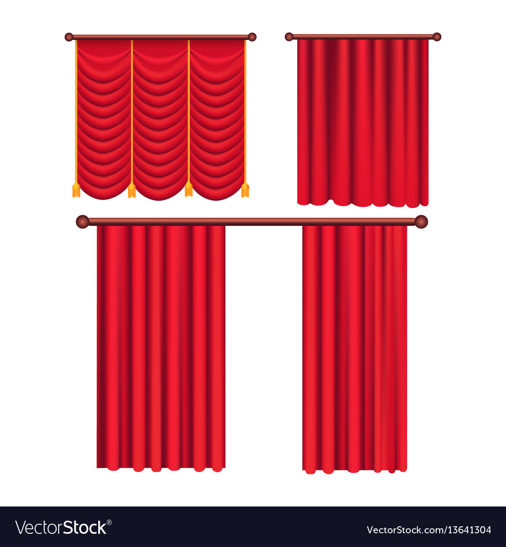 Scarlet pompous curtains collection on white vector image