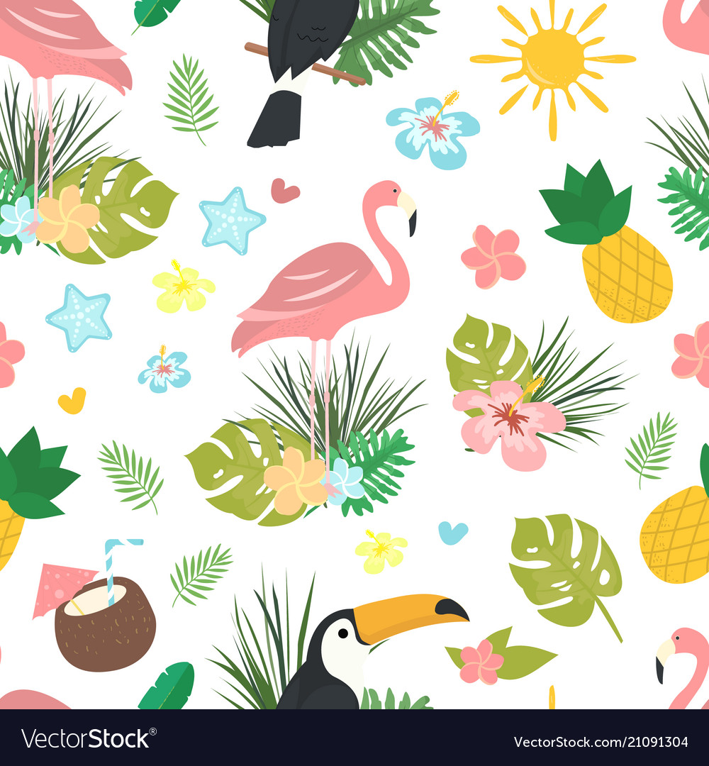 Seamless cartoon doodle pattern exotic
