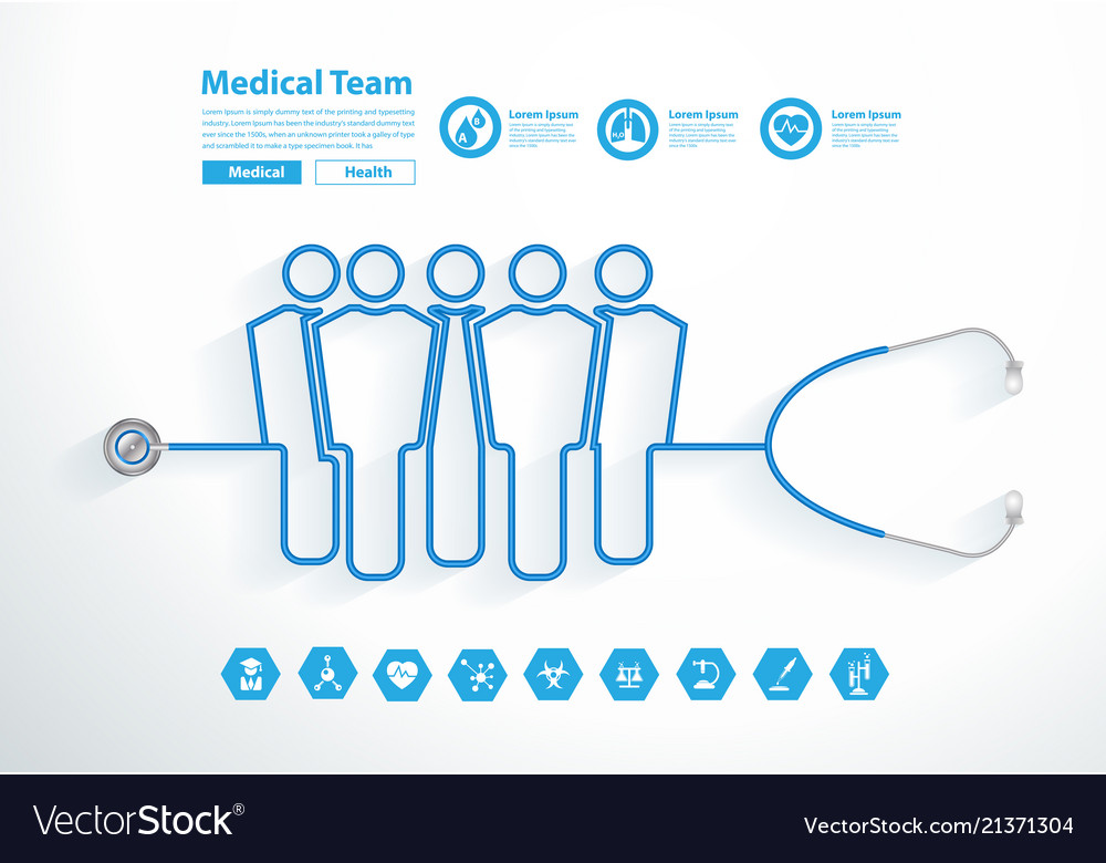 Stethoscope medical team tubing forming group of