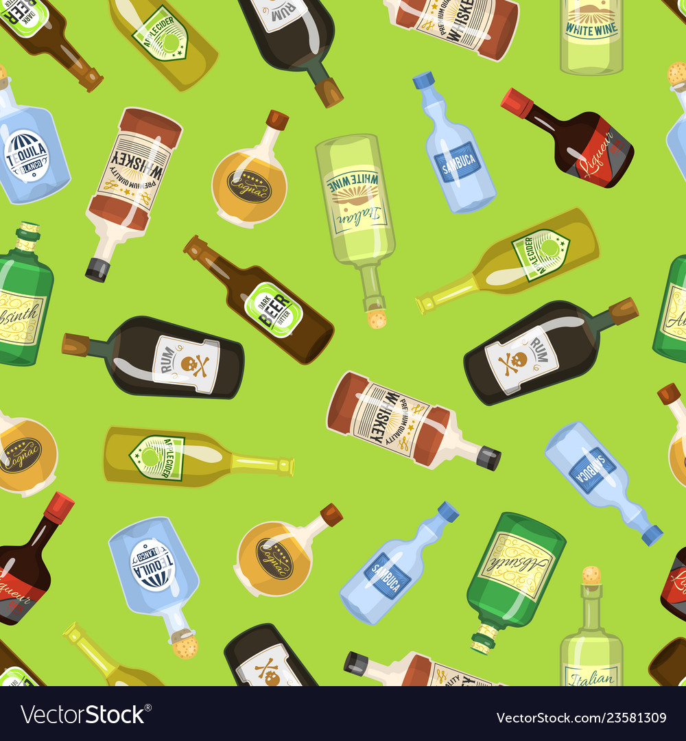 Alcohol seamless background with wine and cocktail