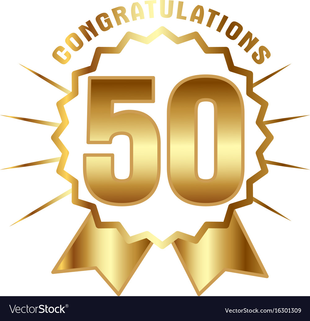 Anniversary golden fifty years number vector image