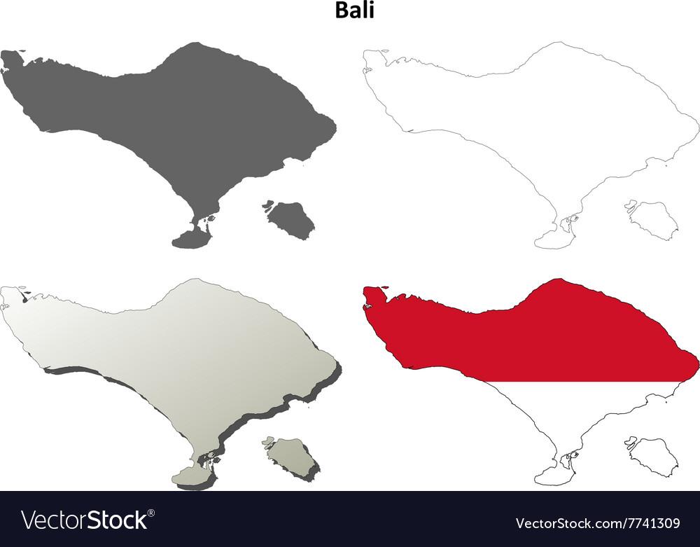 Bali Blank Outline Map Set Vector Image