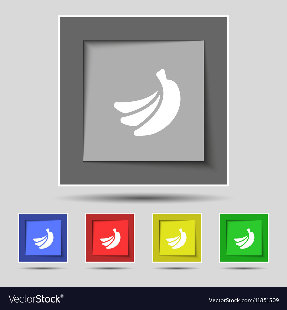Banana icon sign on original five colored buttons