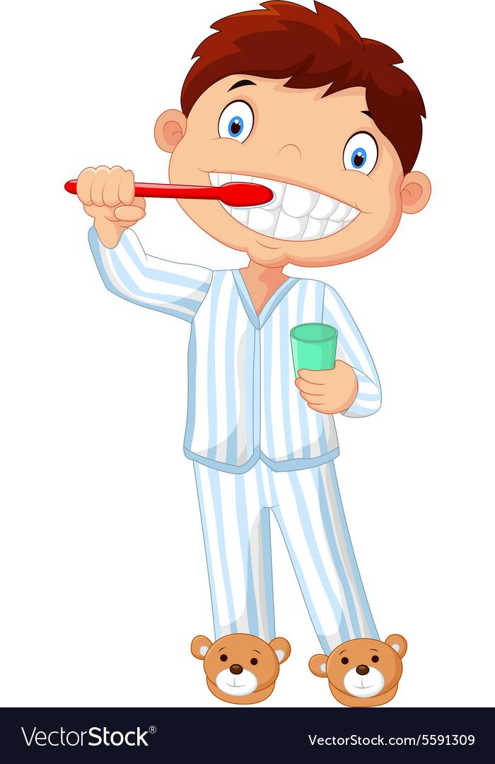 Cartoon little boy brushing his teeth